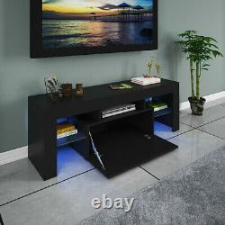 High Gloss TV Stand Cabinet Console Unit Furniture Table LED Shelve 2 Drawer BK8