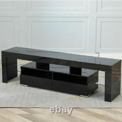 High Gloss TV Stand Entertainment Center for 70 in TV with Storage Cabinet LED US