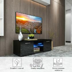 High Gloss TV Stand Unit Cabinet withLED Shelves Drawers Remote Control Black US