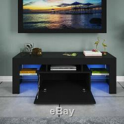 High Gloss TV Stand Unit Cabinet with 2 LED Lights Shelves Living Room Furniture