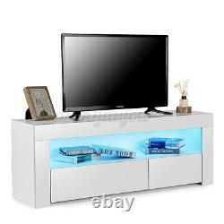 High Gloss TV Stand Unit Cabinet with LED Lights 2 Drawers Entertainment Center