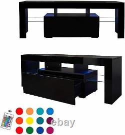 High Gloss TV Unit Cabinet Stand with LED Light and Storage Drawer for 55 in TV