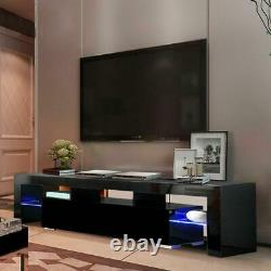 High Gloss TV Unit Cabinet Stand with LED Lights & Shelves Furniture for Home