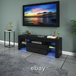 High Gloss TV Unit Cabinet Stand with LED Lights Shelves Home Furniture Black