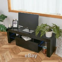 High Gloss TV Unit Cabinet Stand with LED Lights Shelves Home Furniture Black AA
