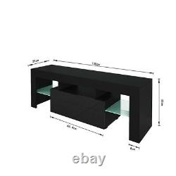 High Gloss TV Unit Cabinet Stand with LED Lights Shelves Home Furniture Black US