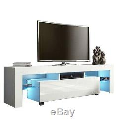 High Gloss TV Unit Cabinet Stand with LED Lights Shelves Home Furniture Drawers