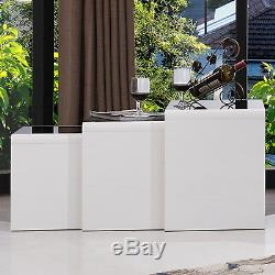 High Gloss White Nest of 3 Coffee Table Side End Table Living Room Furniture