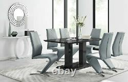 IMPERIA Black High Gloss Dining Table Set And 6 Chrome Leather Dining Chairs