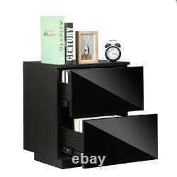 INSMA Set of 2 /1 LED Nightstand with Drawers High Gloss Bedside Table End Table