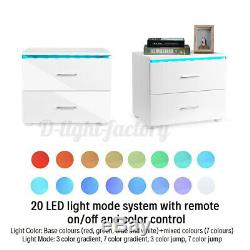 LED Bedside Table 2 Drawer Nightstands High Gloss Modern Storage Cabinet +Remote