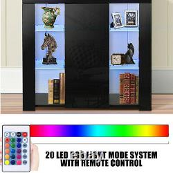 LED High Gloss Sideboard Buffet Kitchen Cupboard Storage Cabinet Console Table