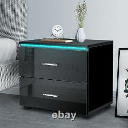 LED Nightstand with 2 Drawers High Gloss Modern Bedroom Bedside End Table Black
