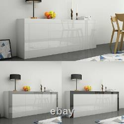 Large Sideboard Cabinet Chest of Drawers White High Gloss & Natural Tones UK