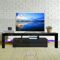 Mecor Black High Gloss TV Stand for 65 Inch TV with LED Light