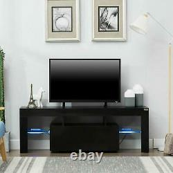 Modern Black 51in High Gloss TV Cabinet Stand Unit Console LED Light for 65in TV