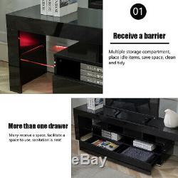Modern Black 63in High Gloss TV Cabinet Stand Unit Console LED Light for 70in TV