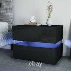 Modern Black LED Light Nightstand 2 Drawer High Gloss Bedside Table with Remote