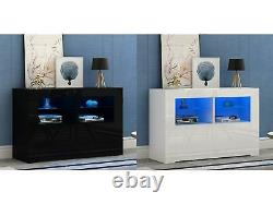 Modern Cabinet Sideboard TV Unit Matt Body and High Gloss Fronts + LED Lights