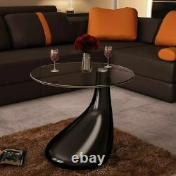 Modern Coffee Table with Round Glass Top High Gloss Living Room Furniture Gray