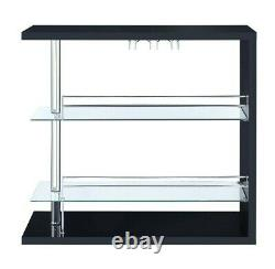 Modern Contemporary Front Bar Table Wine Storage High Gloss Black Lacquer Finish