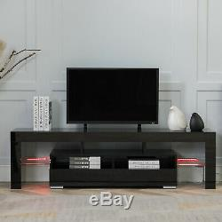Modern High Gloss 63'' TV Stand Unit Cabinet 2 Drawers LED Light +Remote Control