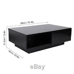Modern High Gloss Black LED Light Coffee Table with Drawers Living Room Furniture