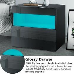 Modern High Gloss Drawer Nightstand with RGB LED Light Bedside Table White/Black