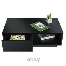 Modern High Gloss LED Coffee Table with 2 Drawers End Table White/Black Furniture