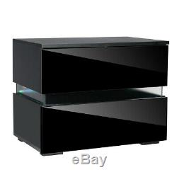 Modern High Gloss Nightstand 2 Drawers Bedside End Table Bedroom withRGB LED Light