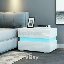 Modern High Gloss Nightstand Set of 2/1 Bedside Table 2 Drawers withRGB LED Light