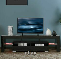 Modern High Gloss TV Unit Cabinet Stand with LED Lights 2 Drawers Shelves Home A
