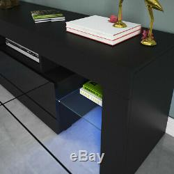 Modern High Gloss TV Unit Cabinet Stand with LED Lights Shelves Home Black NEW