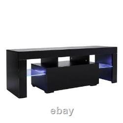 Modern High Gloss TV Unit Cabinet Stand with LED Lights Shelves Living