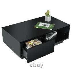 Modern LED Coffee Table with High Gloss Drawer End Side Table Living Room Storage