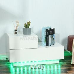 Modern LED Nightstand High Gloss 2 Drawers Bedside Table with Remote Black White