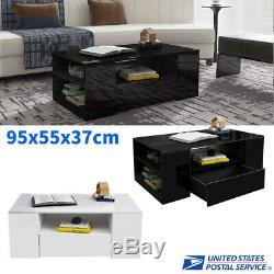 Modern Luxious High Gloss Coffee Table with Drawer Storage Living Room Furniture
