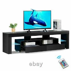 Modern TV Stand Unit Cabinet Black High Gloss with Drawers Shelves LED RGB Lights