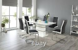 Modica High Gloss and Chrome Dining Table Set and 6 Leather Chairs Seat