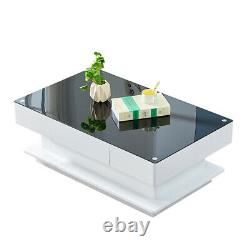 New Simple Coffee End Table White High Gloss Glass Top Living Room White+Black
