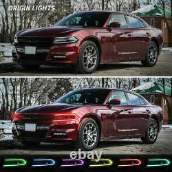 Pair LED RGB Color Change DRL Projector Headlights Lamps for 15-20 Dodge Charger
