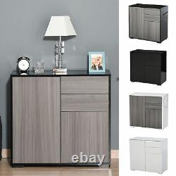 Push-Open Side Cabinet with 2 Drawer 2 Door Cabinet for Home Office