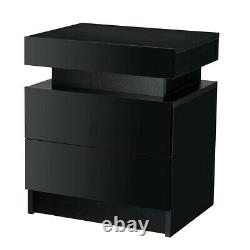 RGB LED Nightstand Black High Gloss with 2 Drawer Modern Bedside End Table WOODY