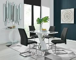 SORRENTO White High Gloss Chrome Dining Table Set & 4 Faux Leather Chairs Seater