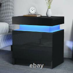 Set of 2 /1 High Gloss LED Nightstand 2 Drawers Modern White Black Bedside Table