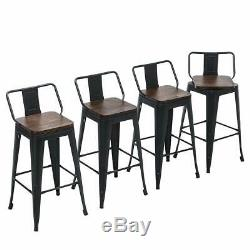 Set of 4 Swivel Metal Barstool Counter Height Bar Stools with Low Back Wooden Seat