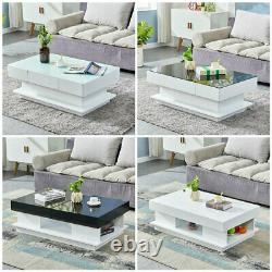 Simple Coffee End Table White High Gloss Glass Top Living Room Modern Furniture