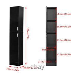 Storage Cabinet Organizer Chest Pantry Cupboard High Gloss Living Room Black US