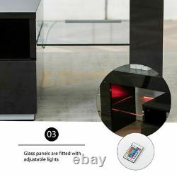 TV Stand Console Cabinet High Gloss with RGB Lights for 70in TV 2 Drawers Black