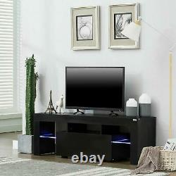 TV Stand Entertainment Center Console High Gloss Cabinet Unit with RGB LED Lights